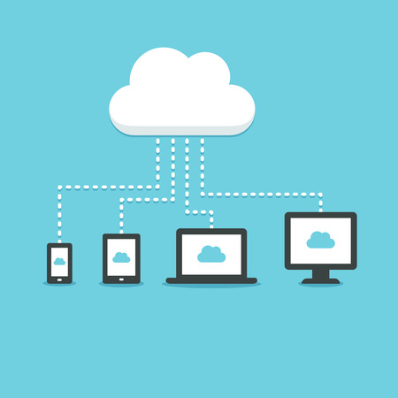 tablet: Modern technology cloud computing illustation. Electronic devices (smartphone, tablet, laptop and desktop computer) connected to a cloud storage. Illustration