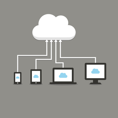 virtual server: Modern technology cloud computing illustation. Electronic devices (smartphone, tablet, laptop and desktop computer) connected to a cloud storage. Illustration