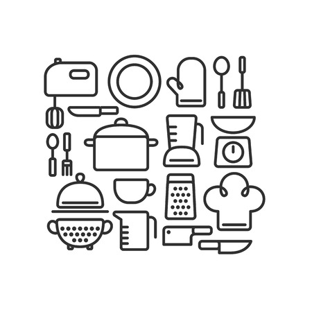 Set of outlined kitchen utencils and various cooking related objects arranged in a pattern. Stock Illustratie