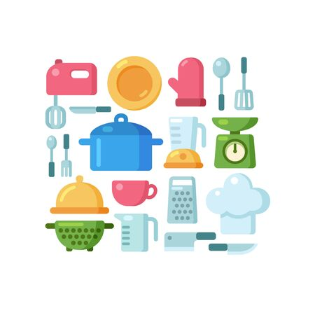 kitchen illustration: Set of colorful kitchen utencils and various cooking related objects arranged in a pattern. Illustration