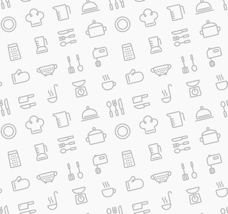 kitchen illustration: Seamless pattern of kitchen utensil and cooking related object outlines. Illustration
