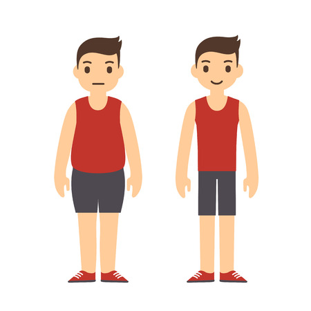 after: Cute cartoon man in sport clothes with two body types: overweight and slim. Weight loss before and after illustration.