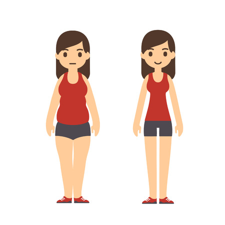 Cute cartoon woman in sport clothes with two body types: chubby and slim. Weight loss before and after illustration.