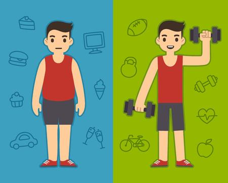 unhealthy: Dos hombres de la historieta que llevan el mismo deporte ropa gordito y el otro delgado. Antecedentes simboliza diferentes estilos de vida poco saludables: y activos. Vectores
