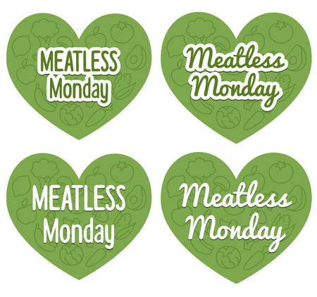 meatless: Meatless Monday heart shaped banners with subtle pattern of mixed fruits and vegetables. Two different styles and fonts. Illustration