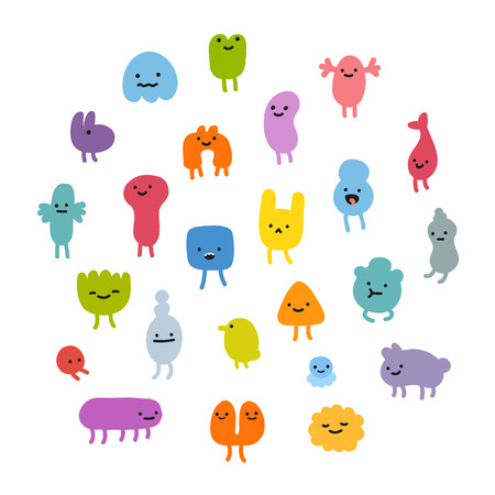 cartoon alien: Set of cute little cartoon monsters with different shapes, colors and facial expressions.