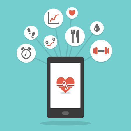 sports activity: Health monitoring smartphone app with various wellness icons. Simple and modern flat vector style.
