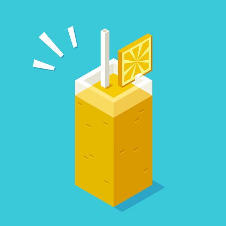 wedge: Stylized isometric glass of juice or smoothie with wedge of orange.