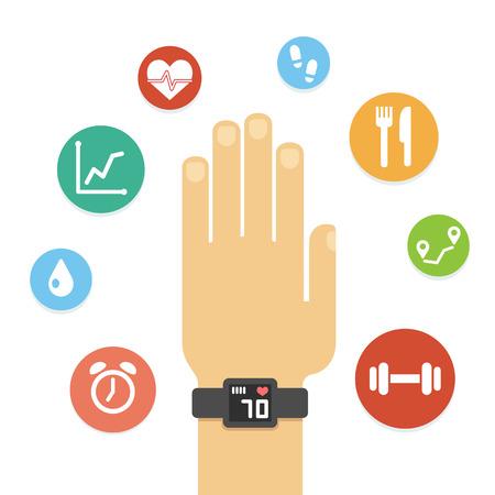 actividad: Gimnasio perseguidor en la mano rodeado de iconos de salud de colores aislados sobre fondo blanco. Estilo vector plana simple y moderno.