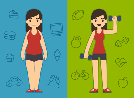 fit girl: Two pretty cartoon girls wearing the same sport clothes one chubby and the other skinny. Background symbolizes different lifestyles: unhealthy and active. Illustration