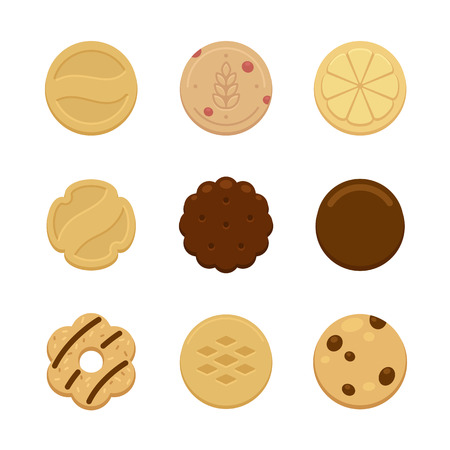 Assortment of nine delicious cookies of various shape and taste. 일러스트