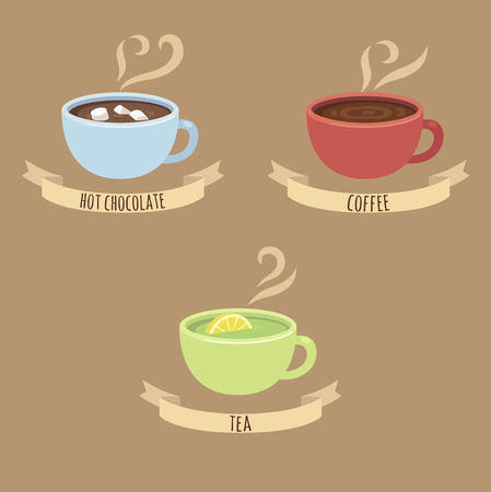 tea cosy: Three steaming hot drink cups: hot chocolate coffee and green tea with captions on ribbons.