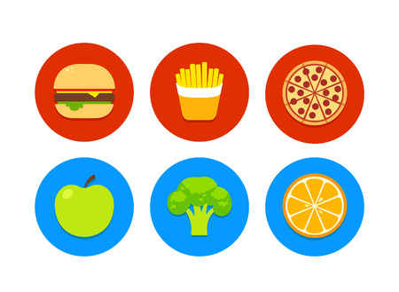 food icons: 6 food icons: junk food burger french fries pizza and healthy food apple broccoli orange