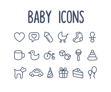 Set of hand drawn baby themed line icons: toys and other related objects. Illustration