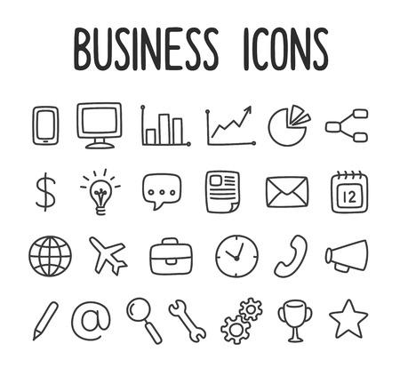 손으로 그린 비즈니스 및 통신 라인 아이콘의 집합입니다.