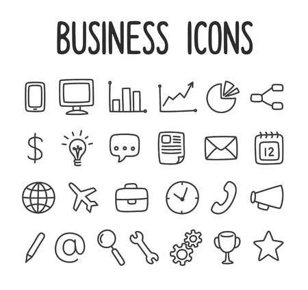 web mail: Set of hand drawn business and communication line icons. Illustration