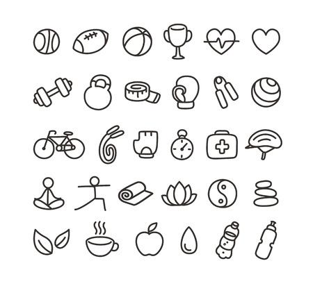 yin y yang: Conjunto de iconos de salud y fitness de estilo garabato dibujado a mano.