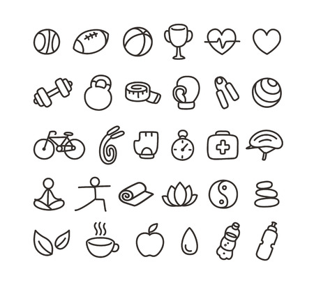 hand silhouette: Set of hand drawn doodle style health and fitness icons.