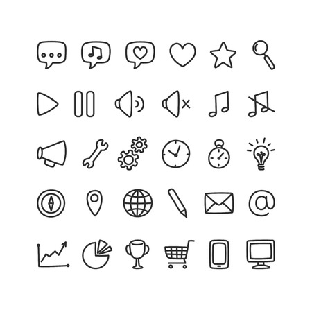 Set of multipurpose interface icons for web or apps: communication media shopping and more. Clean and minimalistic but with a personal hand drawn feel.