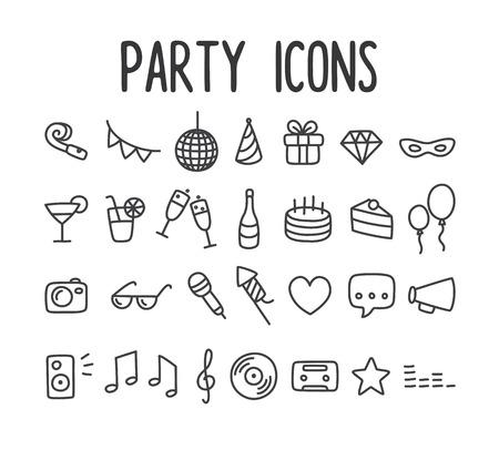 celebra: Conjunto de la fiesta temática de los iconos de la línea dibujada a mano.