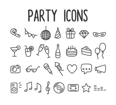 Event: Set of hand drawn party themed line icons.