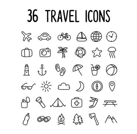 vacaciones en la playa: 36 dibujados a mano los iconos de viajes de estilo dibujo: playa modos de camping de vacaciones de transporte y más. Vectores