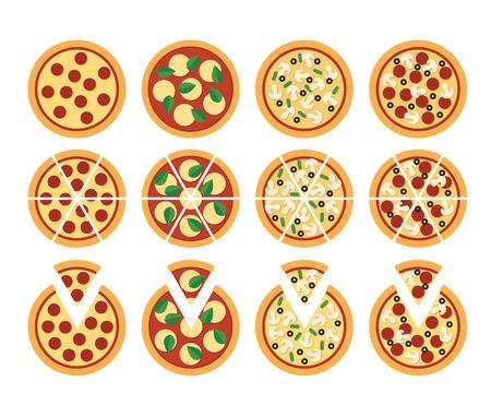 Conjunto de iconos de pizza planos aislados en blanco: todo corte y con la rebanada separete. Cuatro variedades: pepperoni Margherita vegetarianos y mixtos.