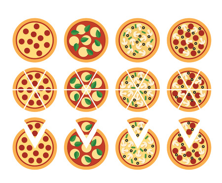 Set of flat pizza icons isolated on white: whole cut and with separete slice. Four varieties: pepperoni Margherita vegetarian and mixed.