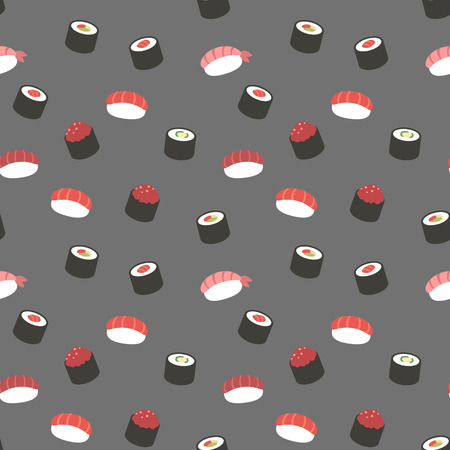 Seamless sushi pattern. 矢量图像