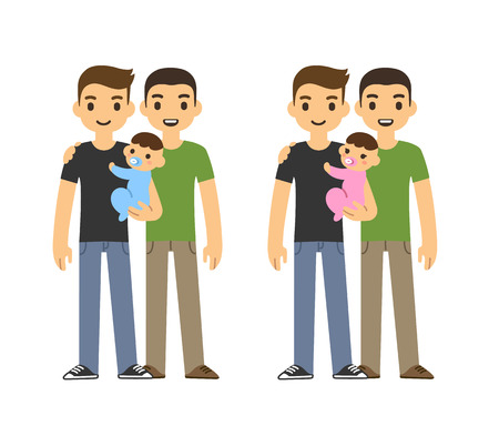 adult sex: Cute cartoon gay couple holding a baby and smiling, isolated on white background. Two variants: with baby boy and girl.