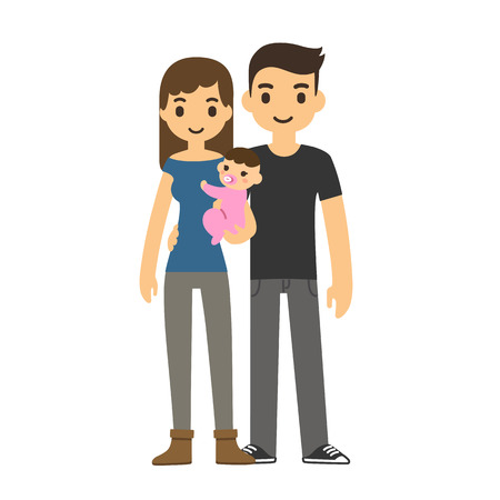 Cute cartoon young couple holding a baby and smiling, isolated on white background.