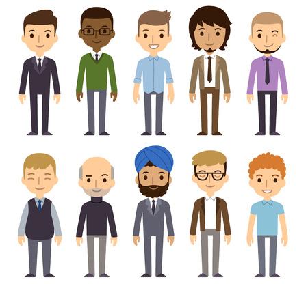 razas de personas: Conjunto de diversos hombres de negocios aislados sobre fondo blanco. Nacionalidades y estilos de vestir diferente. Estilo de dibujos animados plana lindo y simple.