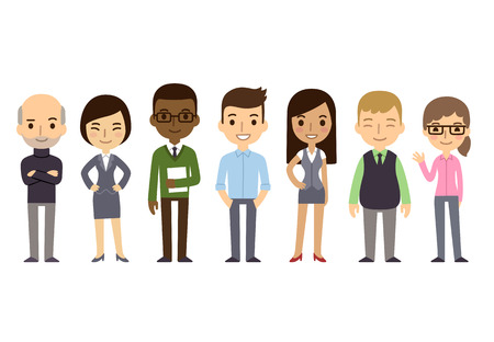 staffs: Set of diverse business people isolated on white background. Different nationalities and dress styles. Cute and simple flat cartoon style.