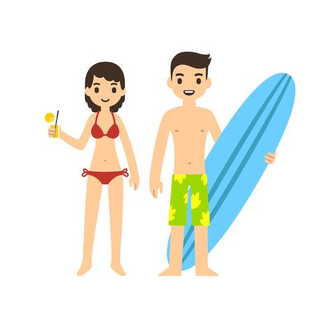 casal bonito dos desenhos animados em uma praia: menina, segurando um copo e um cara com uma prancha de surf. Isolado no fundo branco.