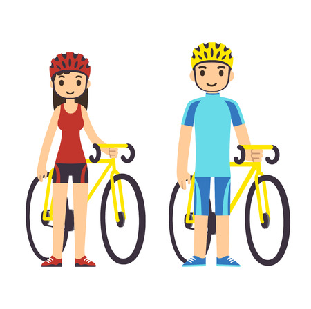 Young cartoon couple in fitness gear with bicycles. Vectores
