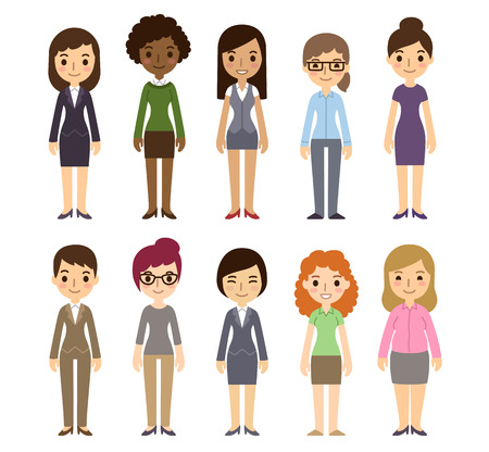 working dress: Set of diverse businesswomen isolated on white background. Different nationalities and dress styles. Cute and simple flat cartoon style.