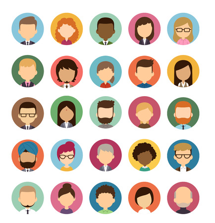 Set of diverse round avatars without facial features isolated on white background. Different nationalities, clothes and hair styles. Cute and simple flat cartoon style. Vettoriali