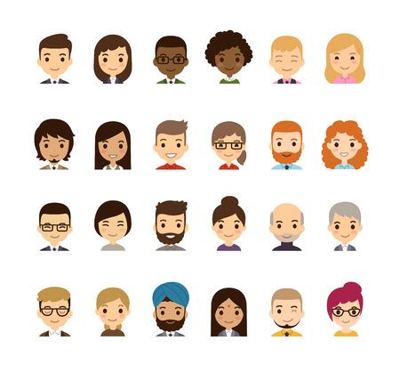 Jogo de diversos avatares. Diferentes nacionalidades, roupas e penteados. Estilo dos desenhos animados apartamento bonito e simples.