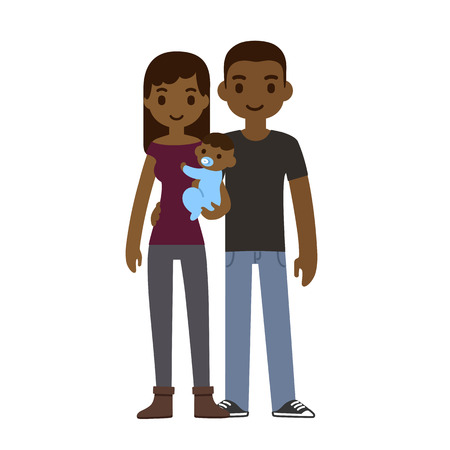 african american couple: Cute cartoon young couple holding a baby and smiling, isolated on white background.