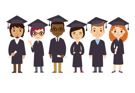 escuela caricatura: Conjunto de diversos estudiantes universitarios o de graduación universitaria con títulos aislados sobre fondo blanco. Estilo de dibujos animados plana lindo y simple.