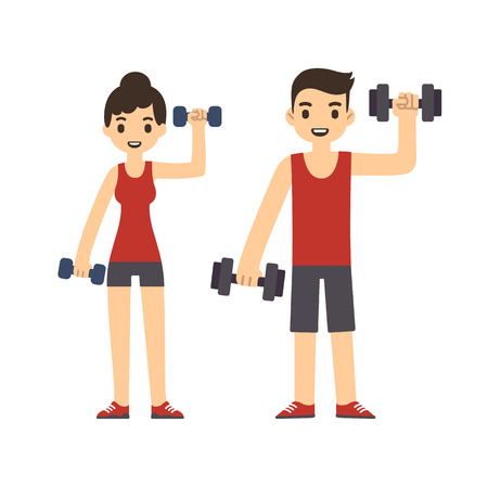 lifestyle woman: Cute cartoon style couple with dumbbells isolated on white background. Modern minimalistic flat vector style.