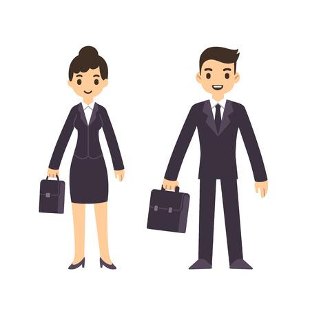 Giovani uomini d'affari, uomo e donna, in stile cartone animato in tuta con la valigia. Isolato su sfondo bianco