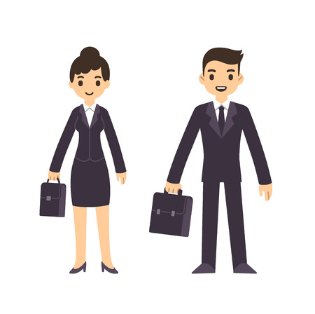people standing: Young business people, man and woman, in cartoon style in suit with suitcase. Isolated on white background.