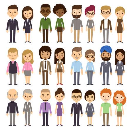 Jogo dos executivos diversos isolados no fundo branco. Diferentes nacionalidades e estilos de vestimenta. Estilo dos desenhos animados apartamento bonito e simples.