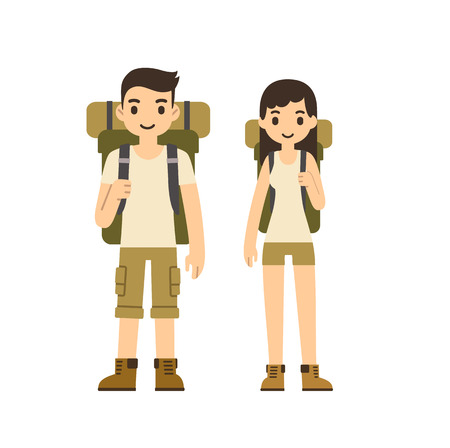 travellers: Cute cartoon couple with hiking equipment isolated on white background. Modern minimalistic flat vector style.