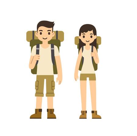 Nette Karikatur Ehepaar mit Wanderausrüstung isoliert auf weißem Hintergrund. Moderne minimalistische Wohnung vector Stil.