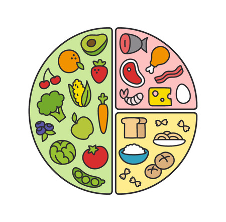 건강한 다이어트 인포 그래픽 : 저녁 식사를 접시의 내용에 대한 영양 권장 사항을 참조하십시오.