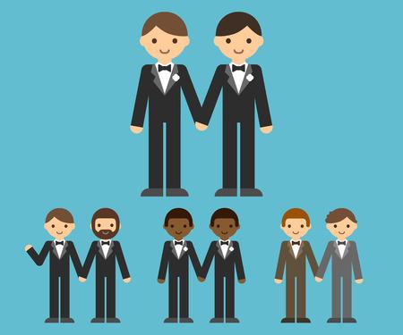 sexo pareja joven: Un conjunto de parejas gay de dibujos animados lindo de la mano. Caucásica y afroamericana. Ropa y peinados diferentes.