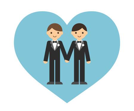young couple sex: Симпатичный мультфильм гей-пара в свадебных фраках, держась за руки в форме сердца.
