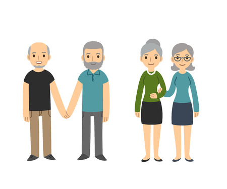 homosexual sex: Two happy senior gay couples isolated on white background. Older men and women in casual clothes holding hands. Simple and cute cartoon style.
